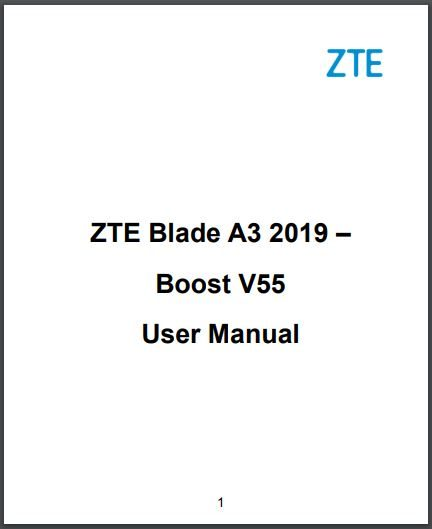 ZTE Blade A3 (2019) User Manual / Guides